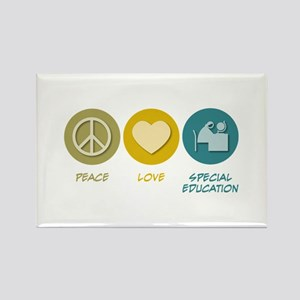 Peace Love Special Education Rectangle Magnet (10