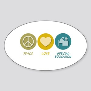 Peace Love Special Education Oval Sticker