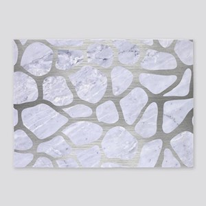 SKIN1 WHITE MARBLE & SILVER BRUSHED 5'x7'Area Rug
