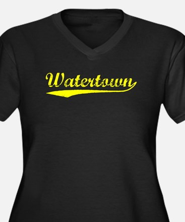 Vintage Watertown (Gold) Women's Plus Size V-Neck