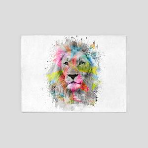 Majestic male lion 5'x7'Area Rug