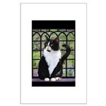 Tuxedo Cat in Window Large Poster