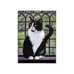 Tuxedo Cat in Window 5'x7'Area Rug