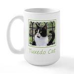 Tuxedo Cat in Window 15 oz Ceramic Large Mug