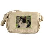 Tuxedo Cat in Window Messenger Bag