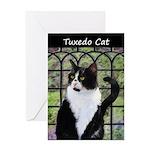 Tuxedo Cat in Window Greeting Card