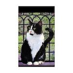 Tuxedo Cat in Window Sticker (Rectangle 10 pk)