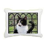 Tuxedo Cat in Window Rectangular Canvas Pillow