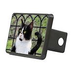 Tuxedo Cat in Window Rectangular Hitch Cover