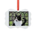 Tuxedo Cat in Window Picture Ornament