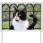 Tuxedo Cat in Window Yard Sign