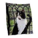 Tuxedo Cat in Window Burlap Throw Pillow