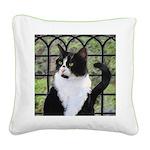 Tuxedo Cat in Window Square Canvas Pillow