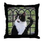 Tuxedo Cat in Window Throw Pillow