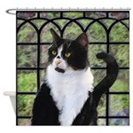 Tuxedo Cat in Window Shower Curtain