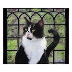 Tuxedo Cat in Window King Duvet