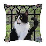 Tuxedo Cat in Window Woven Throw Pillow