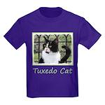 Tuxedo Cat in Window Kids Dark T-Shirt