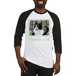 Tuxedo Cat in Window Baseball Tee