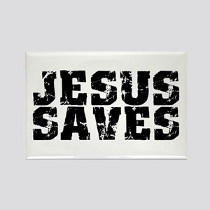 Jesus Saves bk Rectangle Magnet