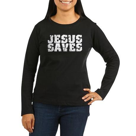 Jesus Saves bk Women's Long Sleeve Dark T-Shirt