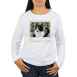 Tuxedo Cat in Window Women's Long Sleeve T-Shirt