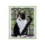 Tuxedo Cat in Window Throw Blanket