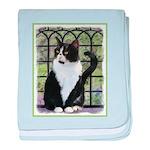 Tuxedo Cat in Window baby blanket