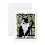 Tuxedo Cat in Window Greeting Cards (Pk of 10)