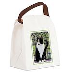 Tuxedo Cat in Window Canvas Lunch Bag