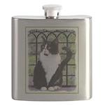 Tuxedo Cat in Window Flask