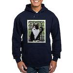 Tuxedo Cat in Window Hoodie (dark)