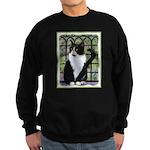 Tuxedo Cat in Window Sweatshirt (dark)