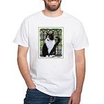Tuxedo Cat in Window Men's Classic T-Shirts