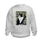 Tuxedo Cat in Window Kids Sweatshirt