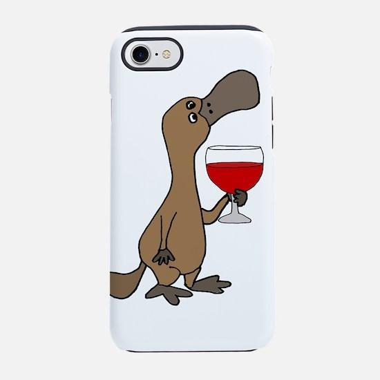 Cute Platypus Drinking Wine iPhone 8/7 Tough Case