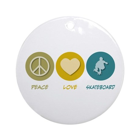 Peace Love Skateboard Ornament (Round)