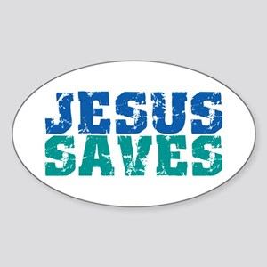 Jesus Saves Sticker (Oval)