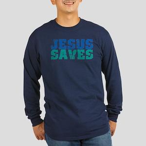 Jesus Saves Long Sleeve Dark T-Shirt