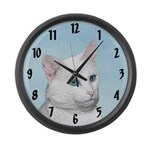 White Cat Large Wall Clock