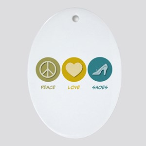 Peace Love Shoes Oval Ornament