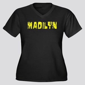 Madilyn Faded (Gold) Women's Plus Size V-Neck Dark