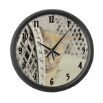 Yellow Tabby Cat Large Wall Clock