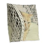 Yellow Tabby Cat Burlap Throw Pillow