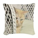 Yellow Tabby Cat Woven Throw Pillow