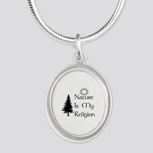 Nature Is My Religion Silver Oval Necklace