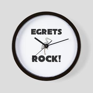 Egrets Rock! Wall Clock