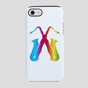 crossed saxophones, saxophon iPhone 8/7 Tough Case