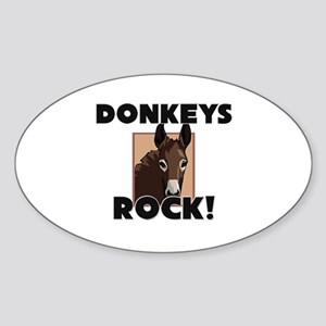 Donkeys Rock! Oval Sticker