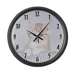Yellow Tabby Kitten Large Wall Clock